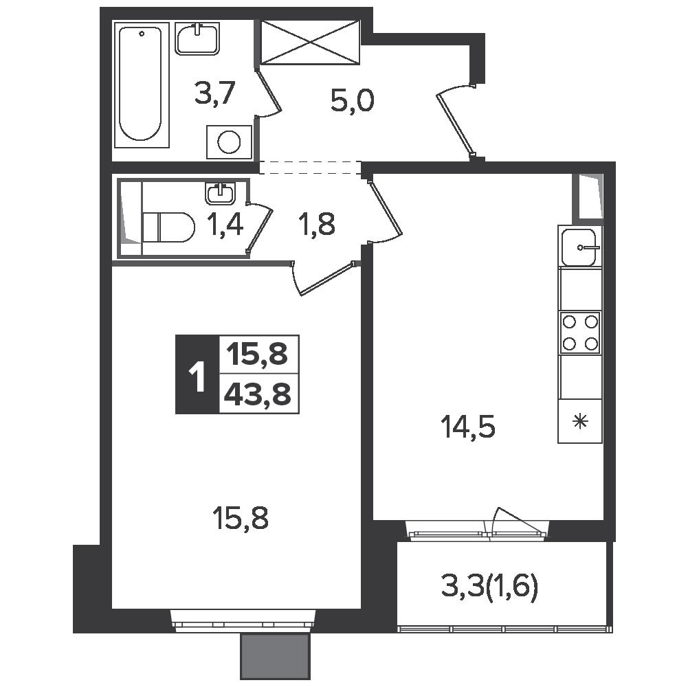 1-комнатная квартира, 43.8м² за 6,5 млн руб.