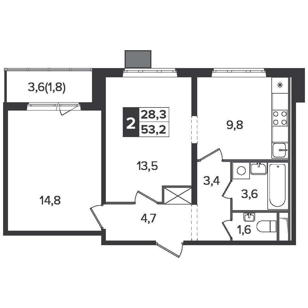 2-комнатная квартира, 53.2м² за 9,5 млн руб.