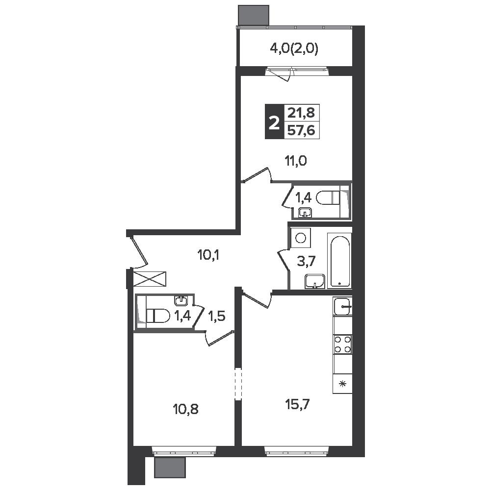 2-комнатная квартира, 57.6м² за 9,7 млн руб.
