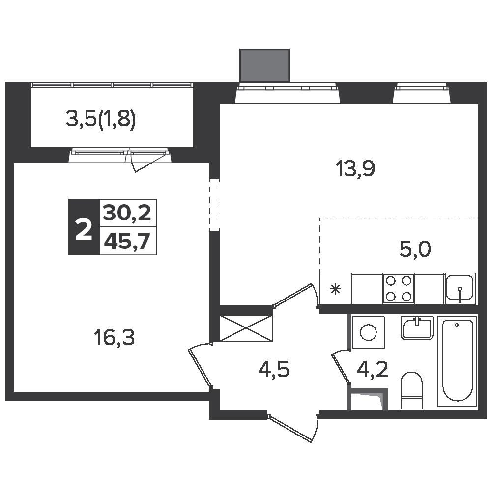 2-комнатная квартира, 45.7м² за 7,3 млн руб.