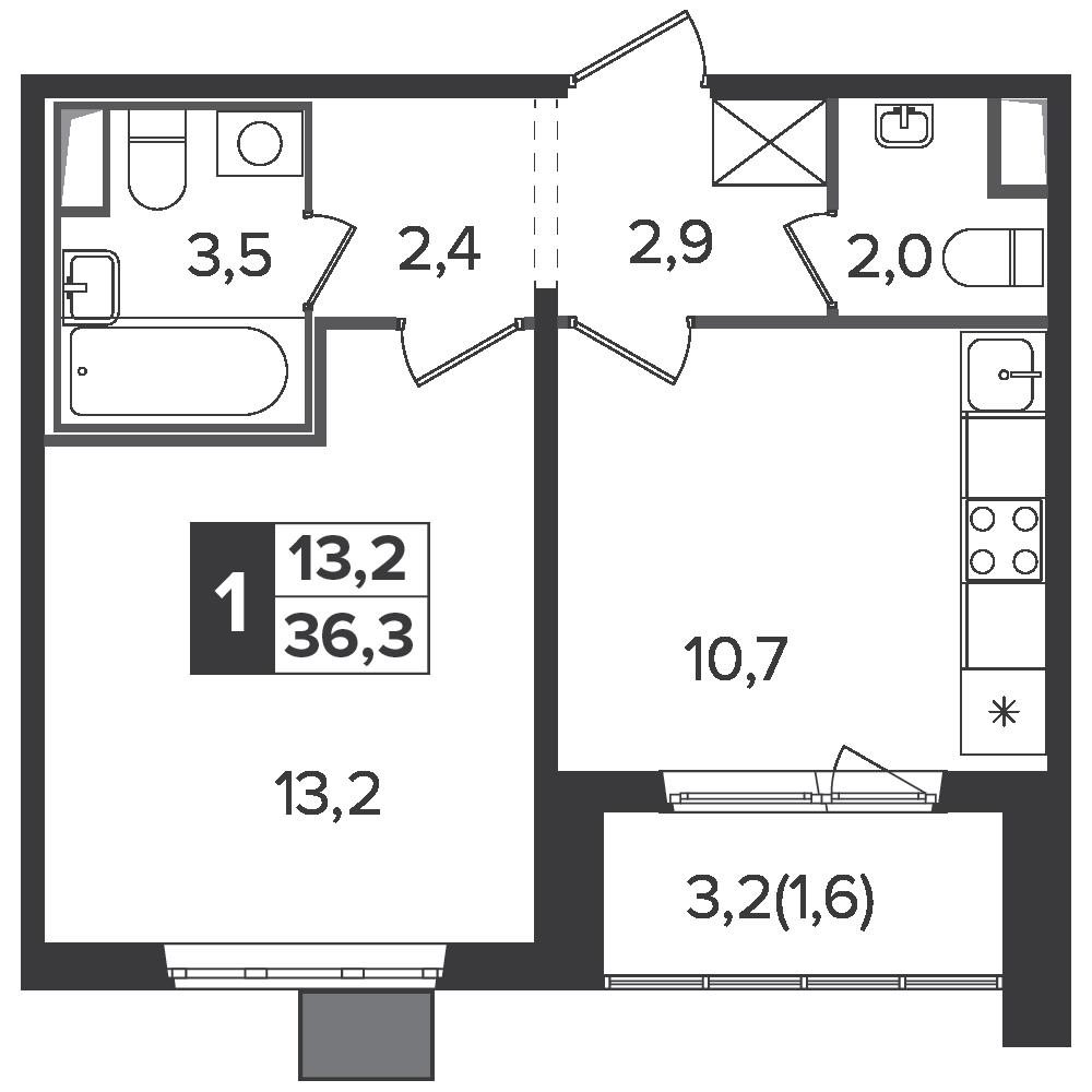 1-комнатная квартира, 36.3м² за 6,2 млн руб.