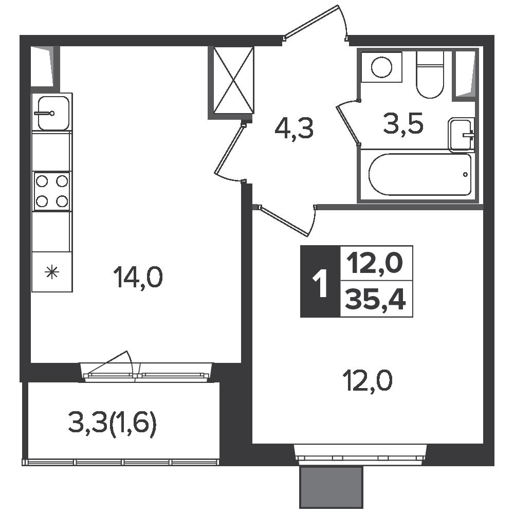 1-комнатная квартира, 35.4м² за 5,6 млн руб.