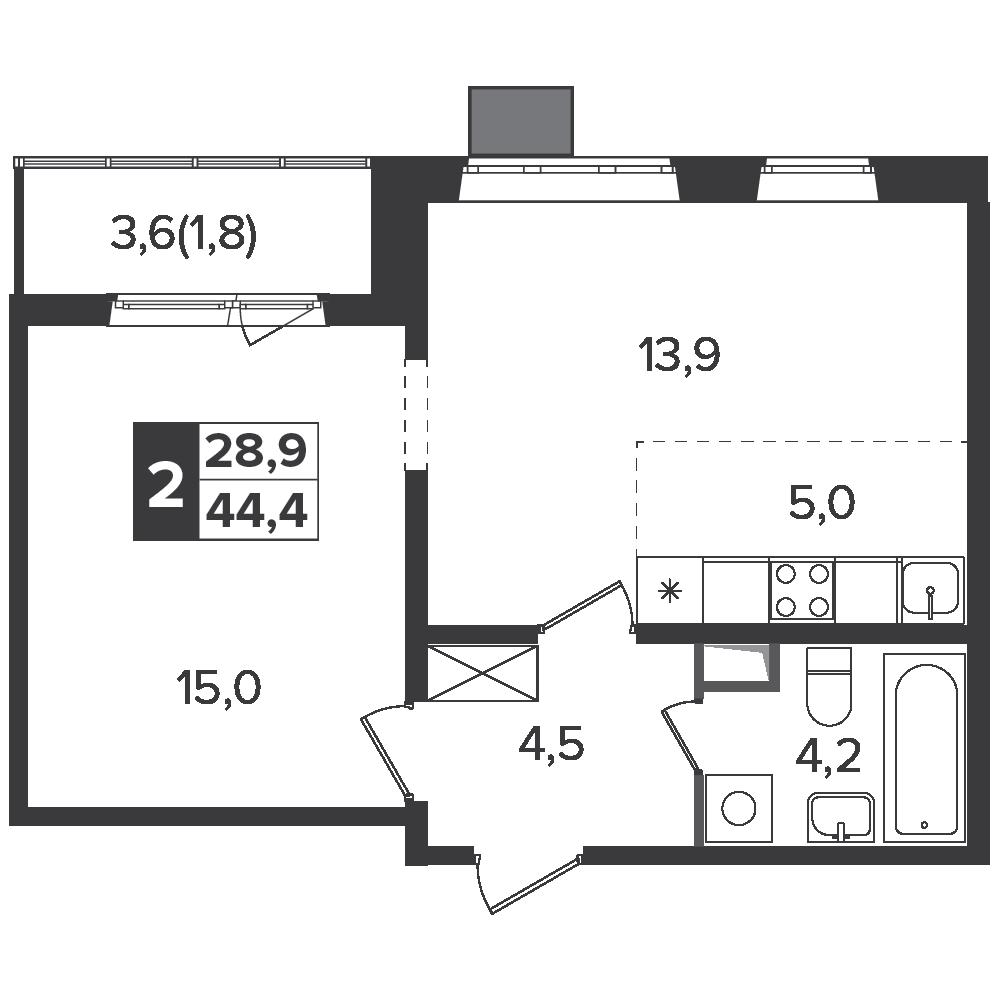 2-комнатная квартира, 44.4м² за 7,1 млн руб.