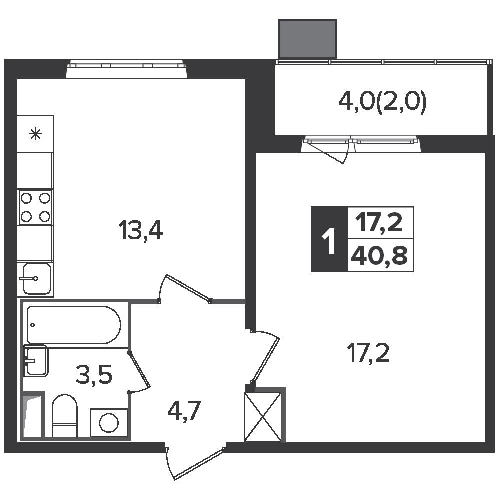 1-комнатная квартира, 40.8м² за 6,3 млн руб.