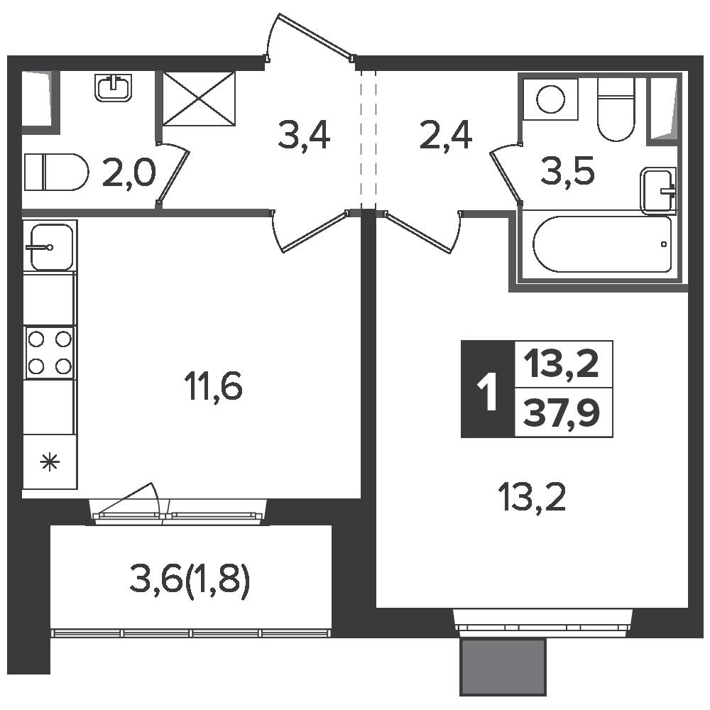 1-комнатная квартира, 37.9м² за 6,1 млн руб.