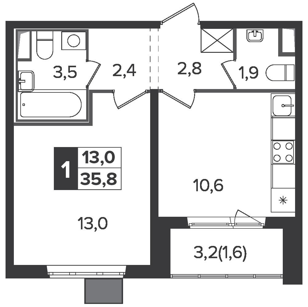 1-комнатная квартира, 35.8м² за 5,8 млн руб.