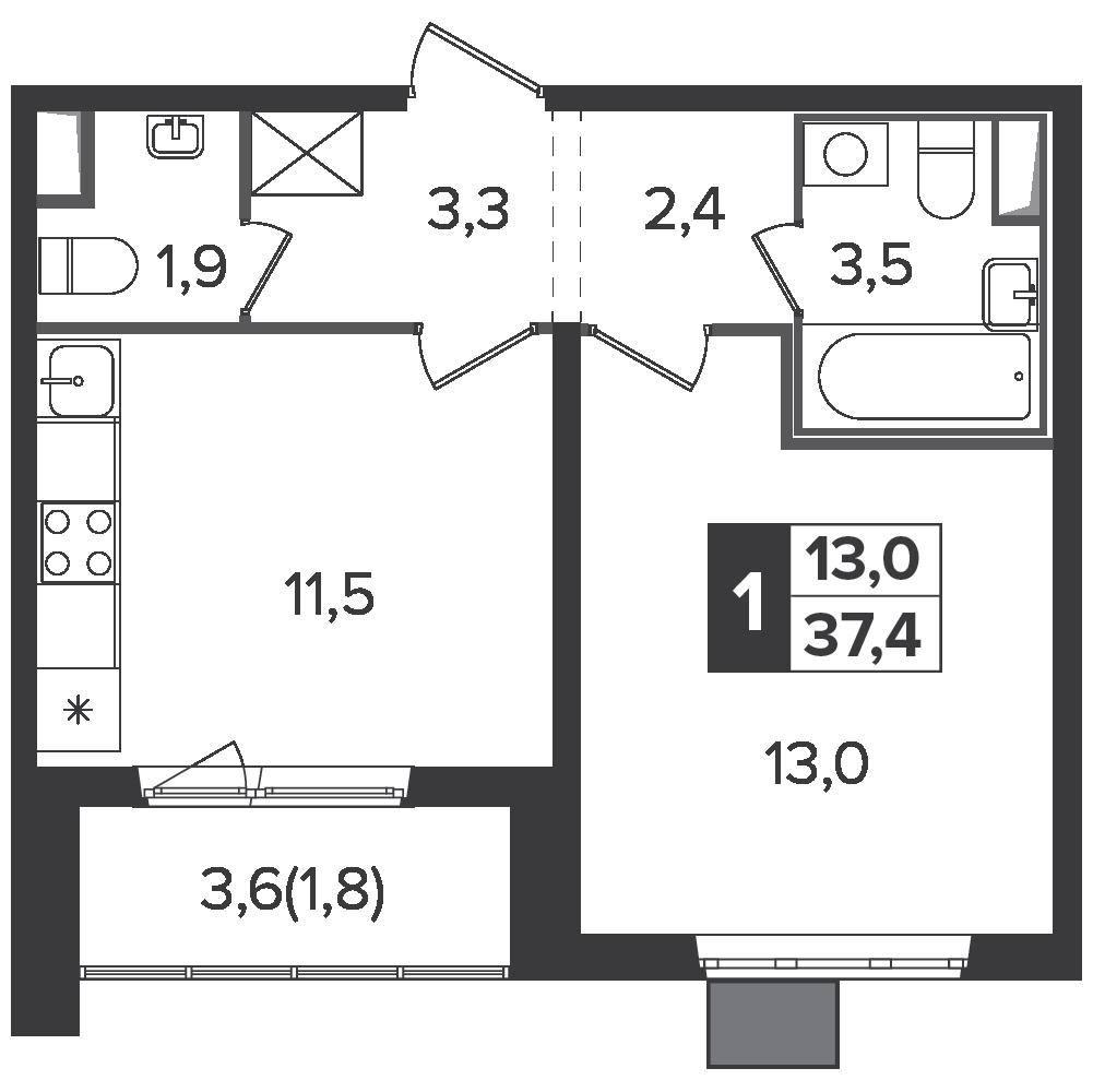 1-комнатная квартира, 37.4м² за 5,8 млн руб.