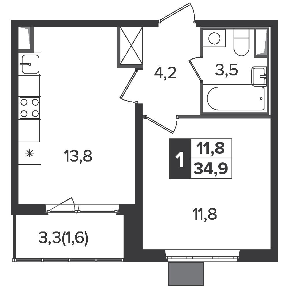 1-комнатная квартира, 34.9м² за 5,4 млн руб.