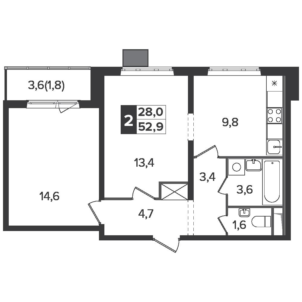 2-комнатная квартира, 52.9м² за 9,4 млн руб.
