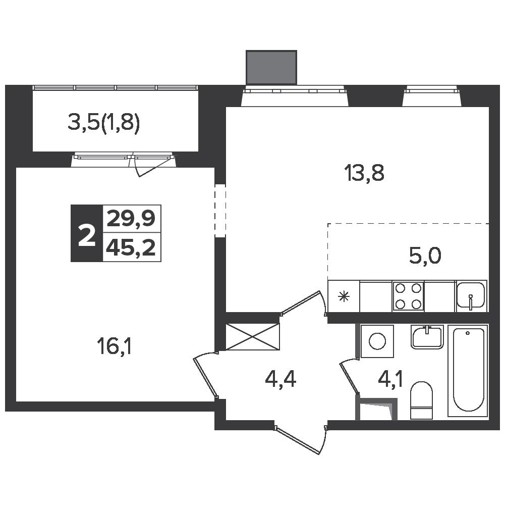 2-комнатная квартира, 45.2м² за 7,1 млн руб.