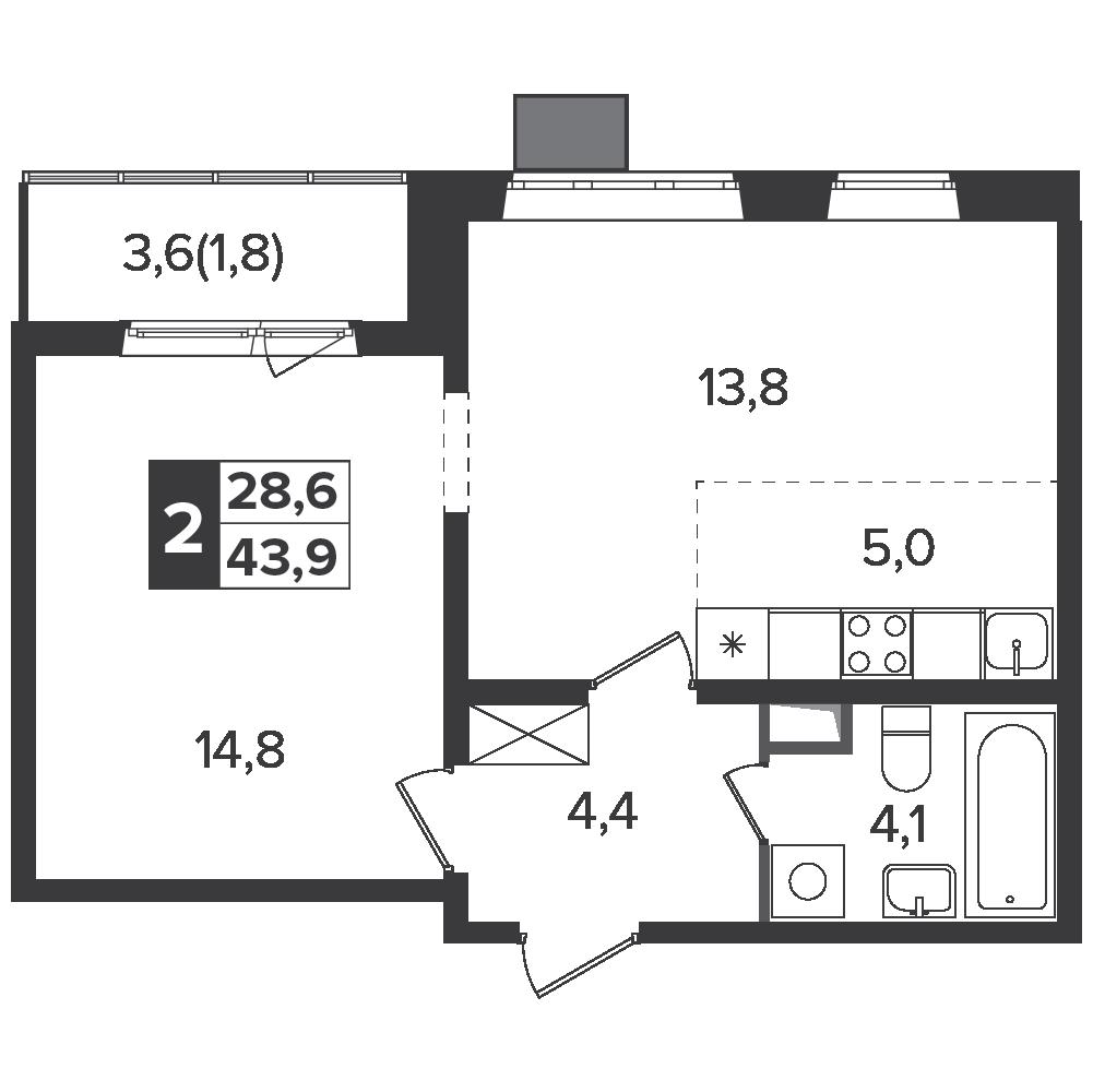 2-комнатная квартира, 43.9м² за 6,9 млн руб.