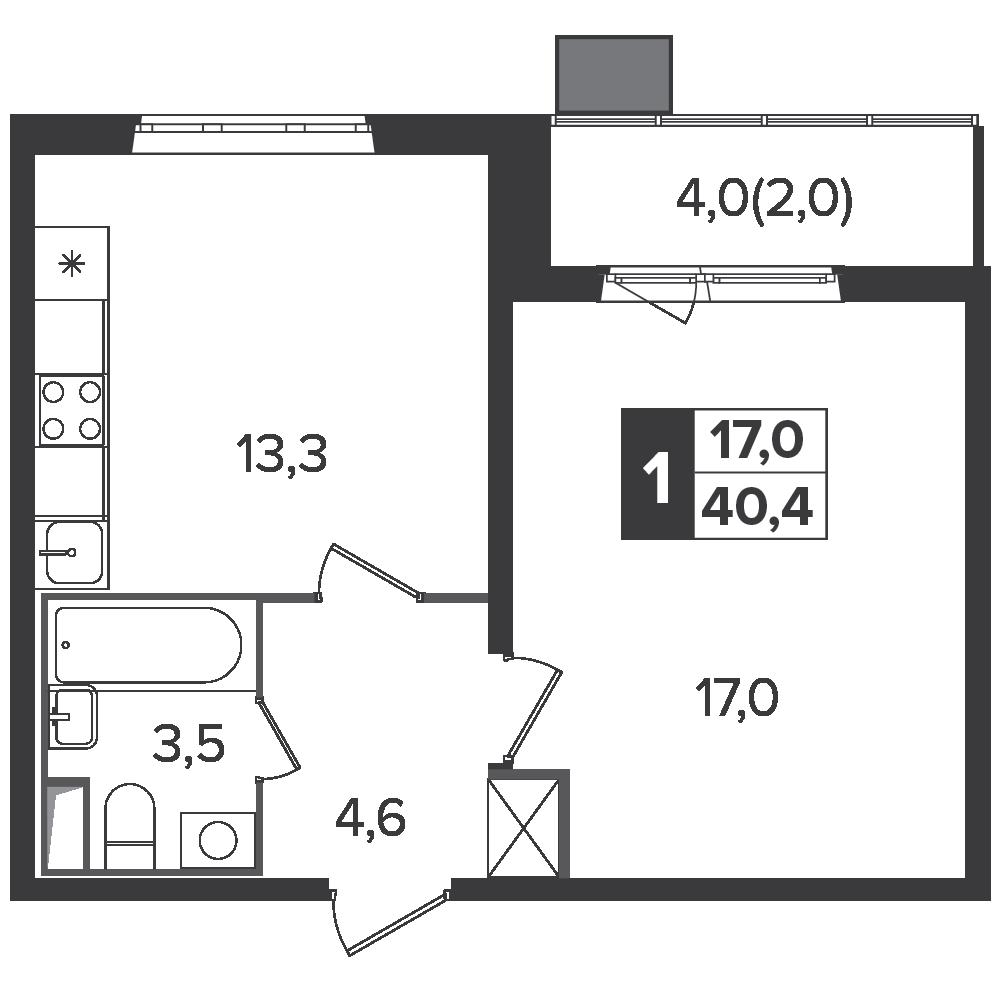1-комнатная квартира, 40.4м² за 6,7 млн руб.