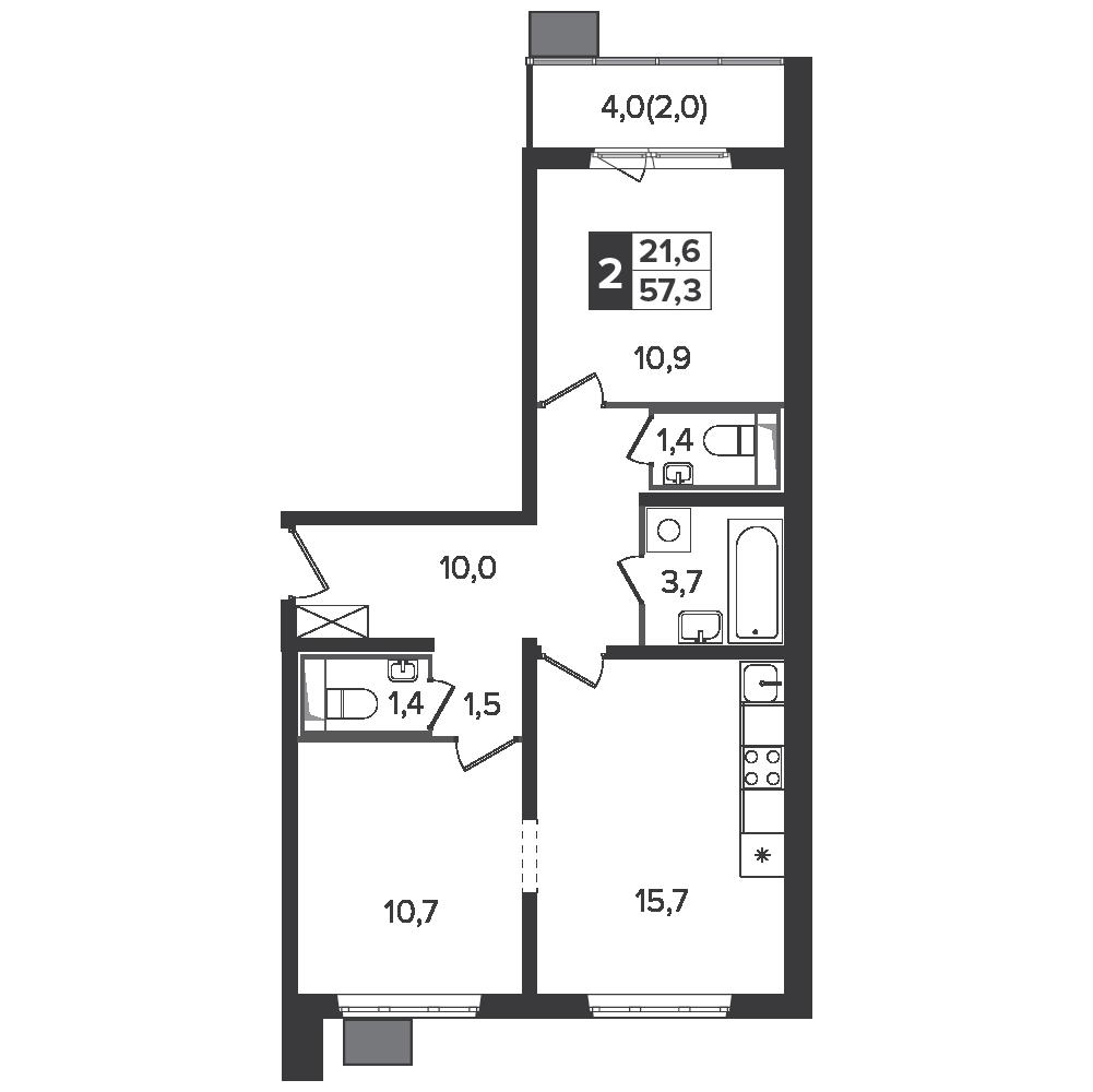2-комнатная квартира, 57.3м² за 9,6 млн руб.