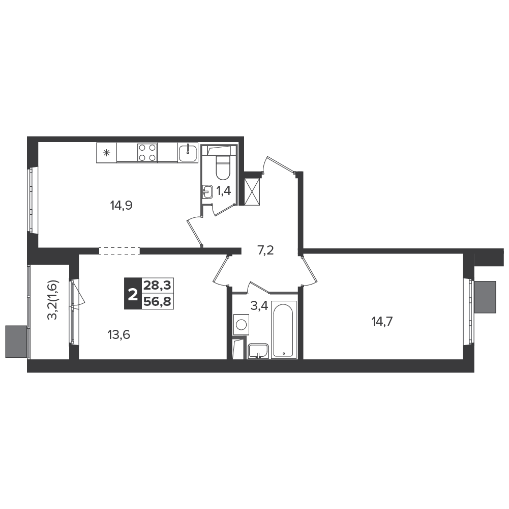 2-комнатная квартира, 56.8м² за 8,2 млн руб.