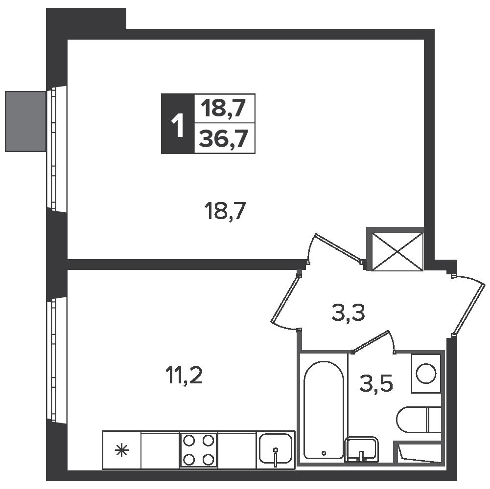 1-комнатная квартира, 36.7м² за 5,7 млн руб.