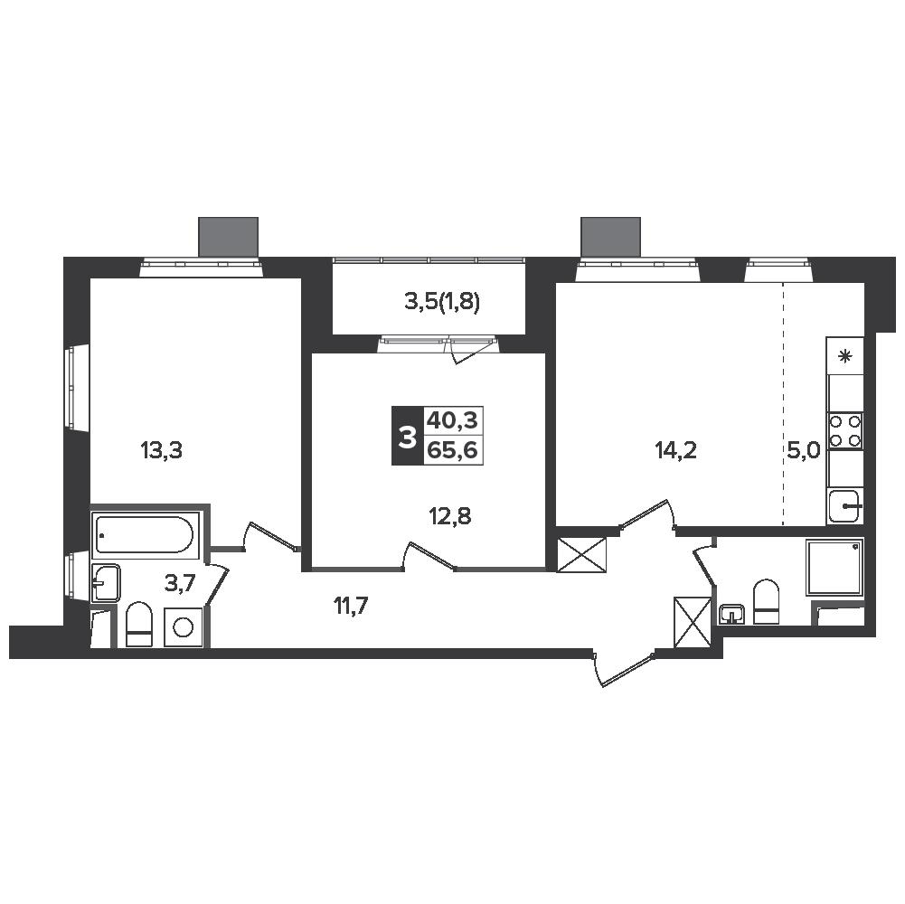 3-комнатная квартира, 65.6м² за 10,6 млн руб.