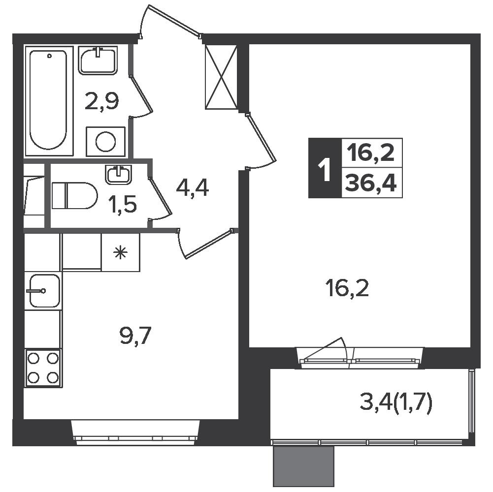 1-комнатная квартира, 36.4м² за 5,6 млн руб.