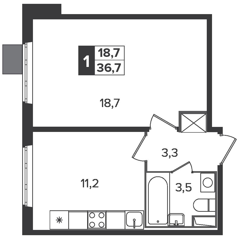 1-комнатная квартира, 36.7м² за 6 млн руб.