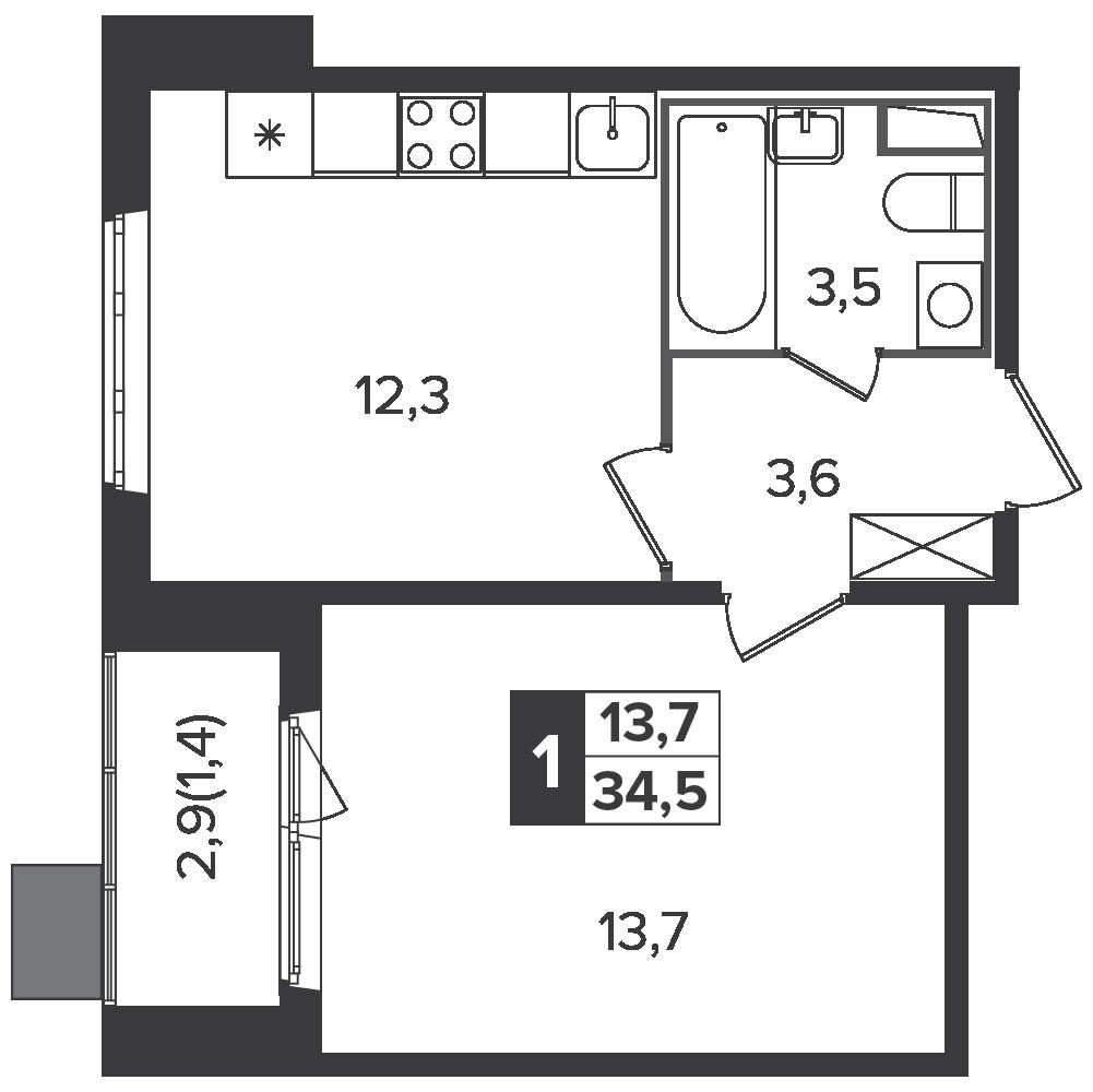 1-комнатная квартира, 34.5м² за 5,4 млн руб.