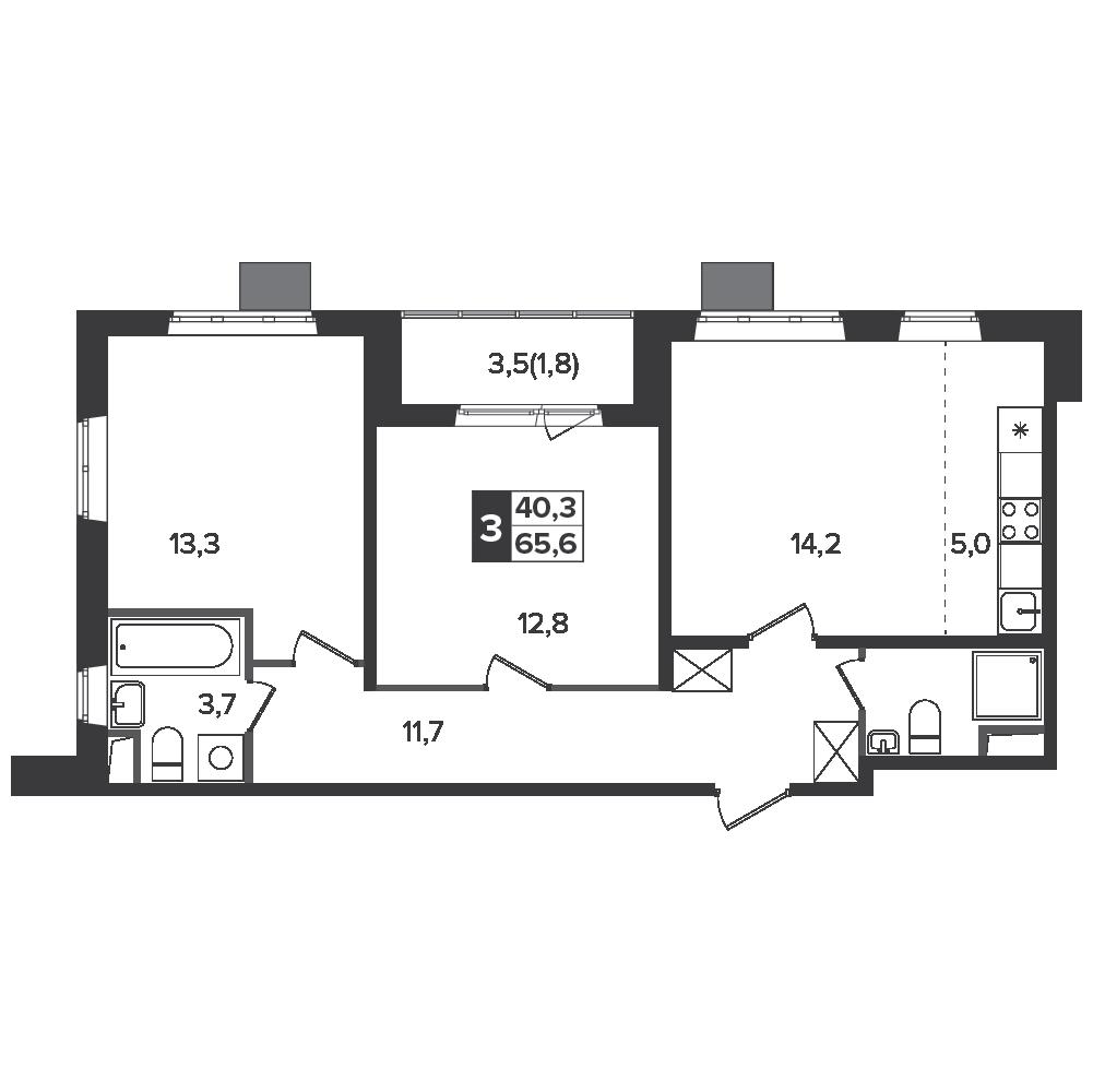 3-комнатная квартира, 65.6м² за 9,3 млн руб.