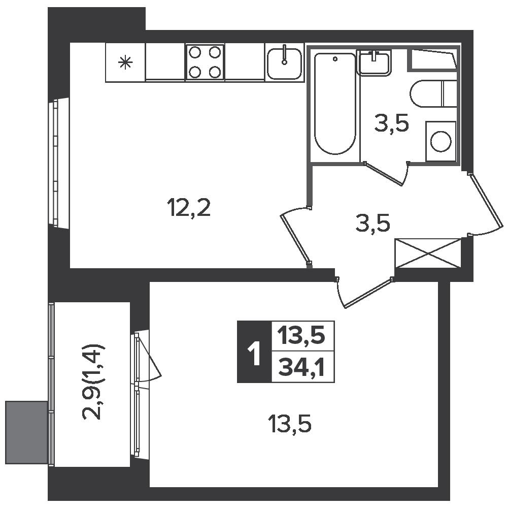 1-комнатная квартира, 34.1м² за 5,5 млн руб.