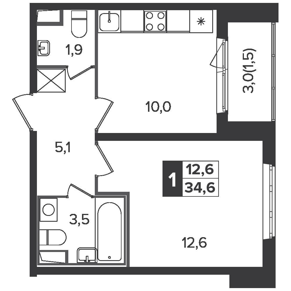 1-комнатная квартира, 34.6м² за 5,3 млн руб.
