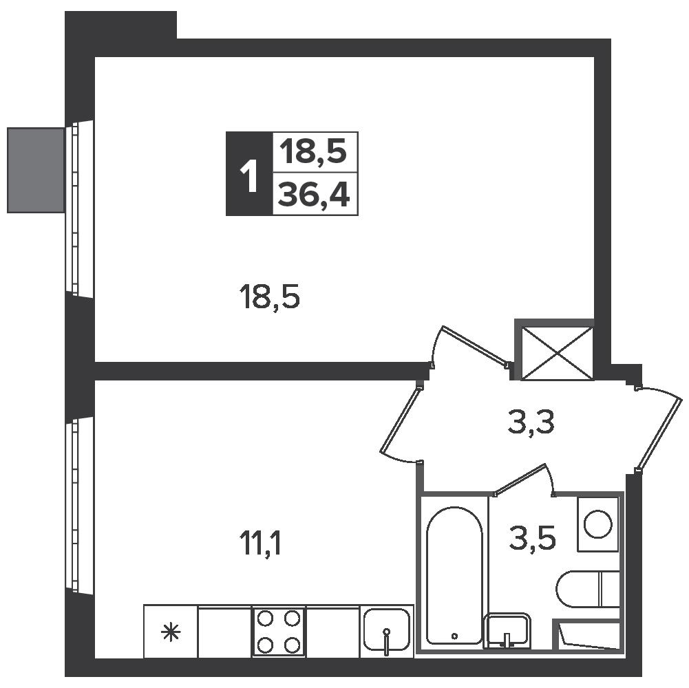1-комнатная квартира, 36.4м² за 6,1 млн руб.