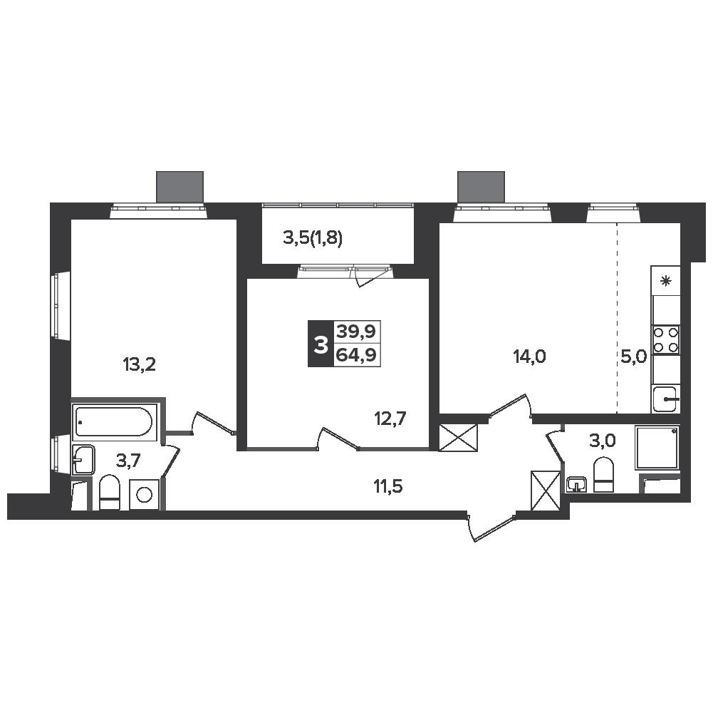 3-комнатная квартира, 64.9м² за 9 млн руб.
