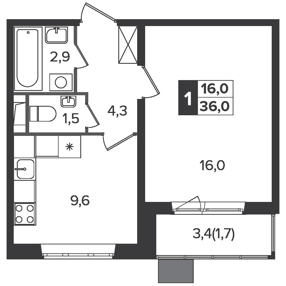 1-комнатная квартира, 36м² за 5,7 млн руб.