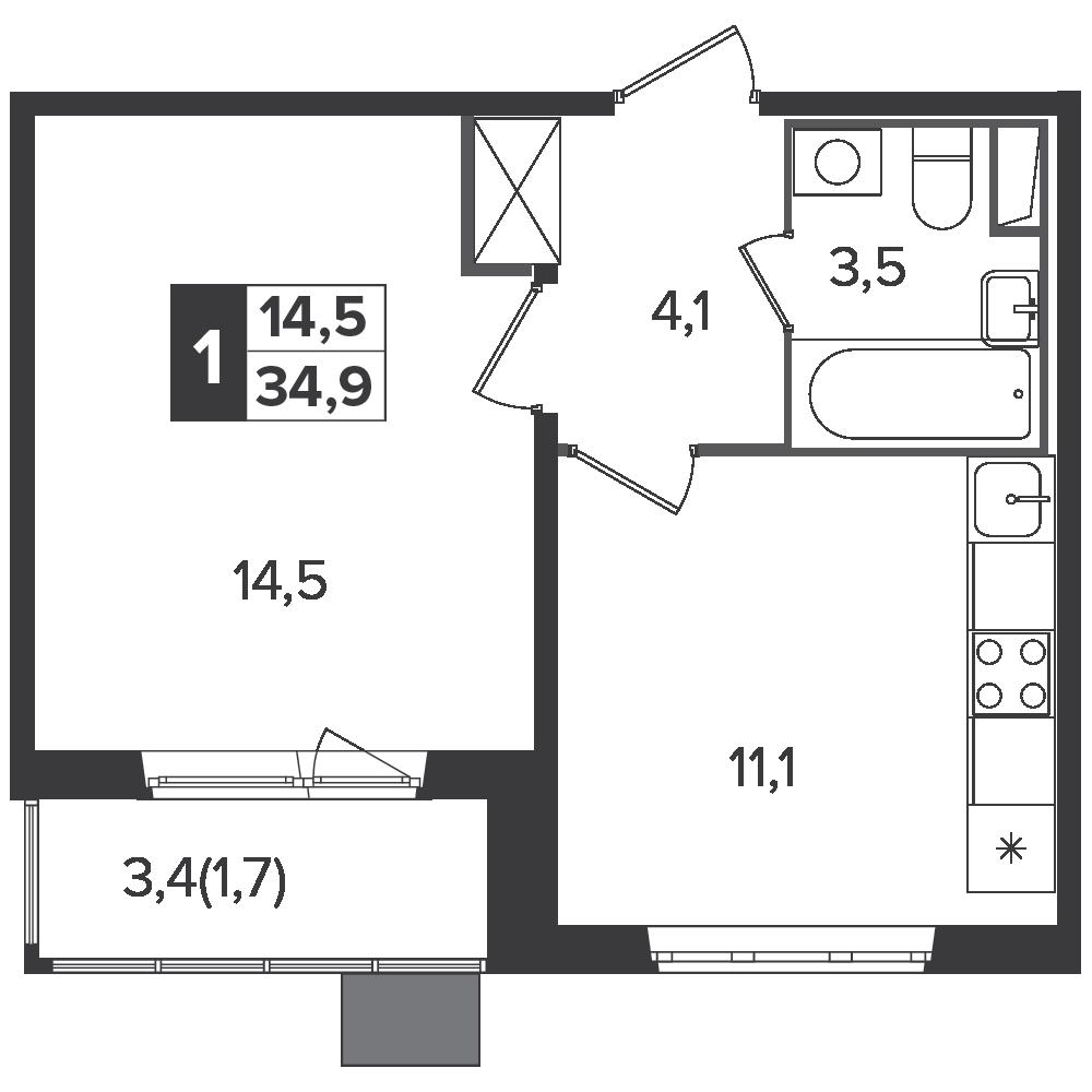 1-комнатная квартира, 34.9м² за 6,3 млн руб.