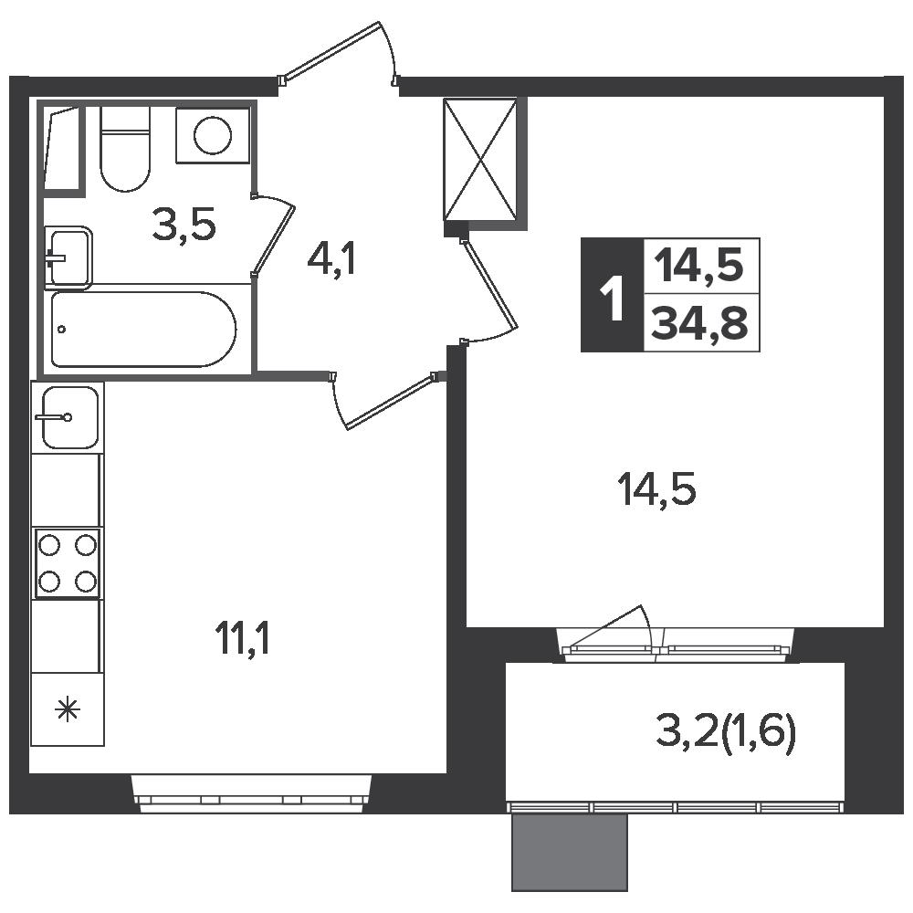 1-комнатная квартира, 34.8м² за 5,8 млн руб.