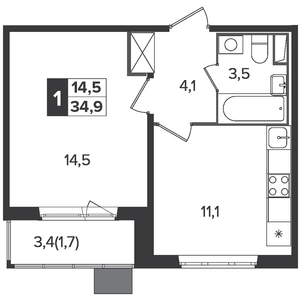 1-комнатная квартира, 34.9м² за 5,8 млн руб.