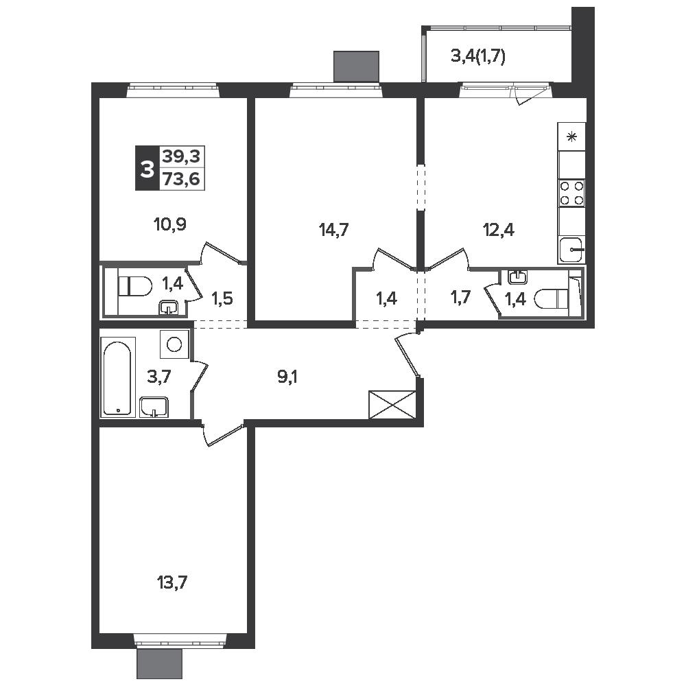 3-комнатная квартира, 73.6м² за 11,6 млн руб.