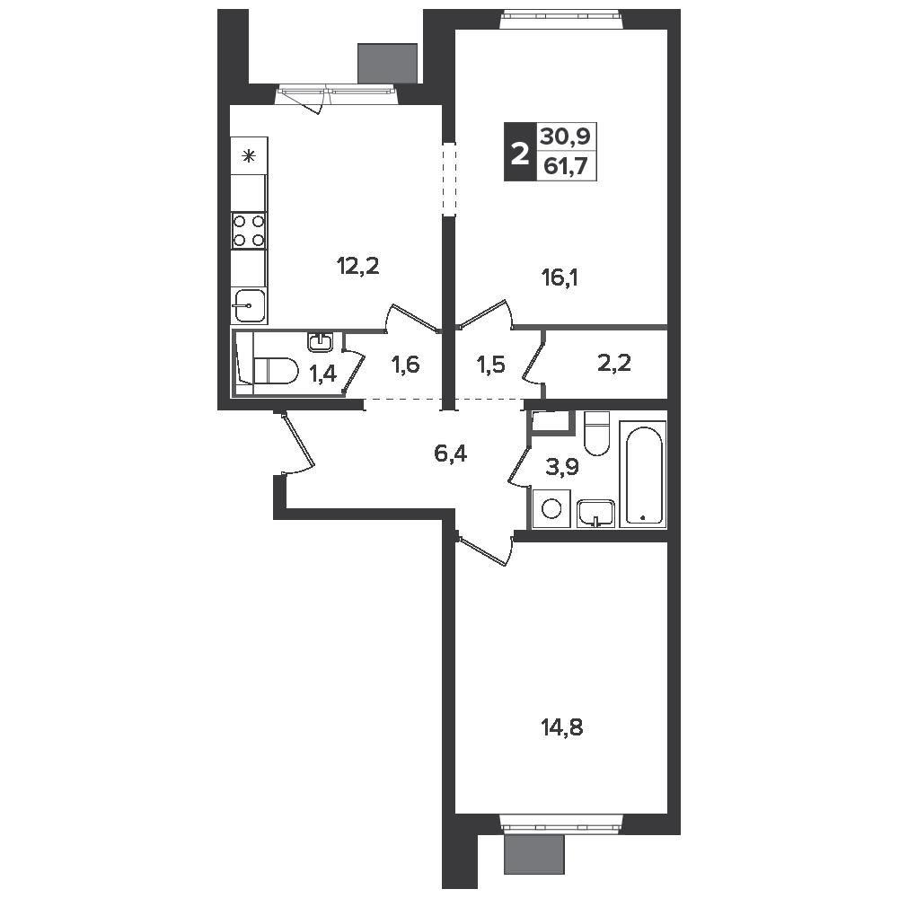 2-комнатная квартира, 61.7м² за 8,4 млн руб.