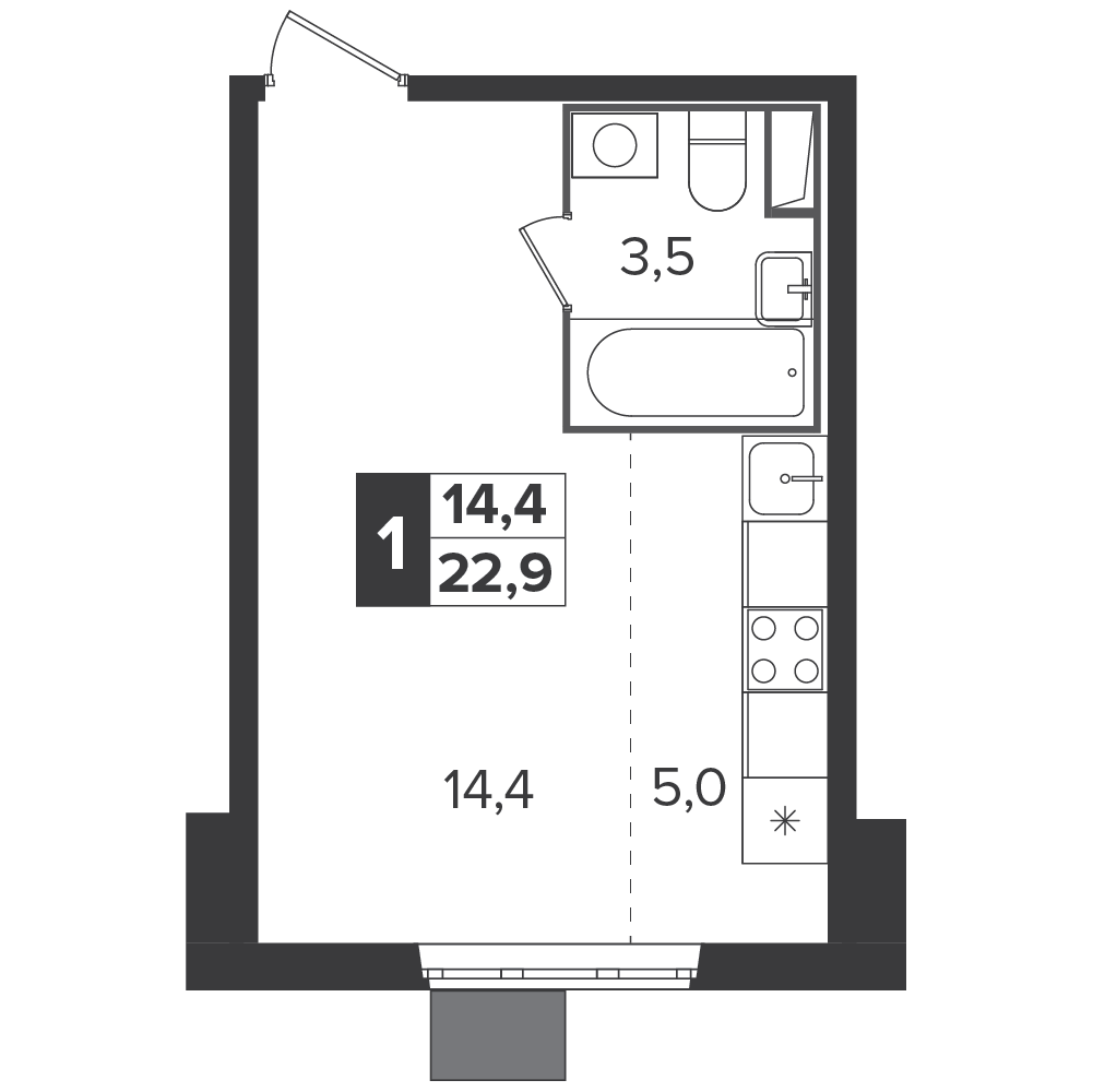 Студия, 22.9м² за 3,9 млн руб.