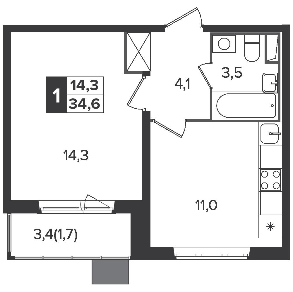 1-комнатная квартира, 34.6м² за 5,8 млн руб.