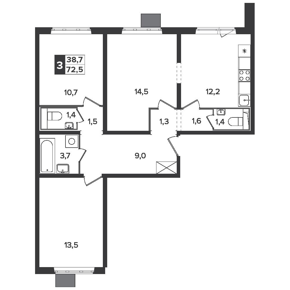 3-комнатная квартира, 72.5м² за 9,7 млн руб.