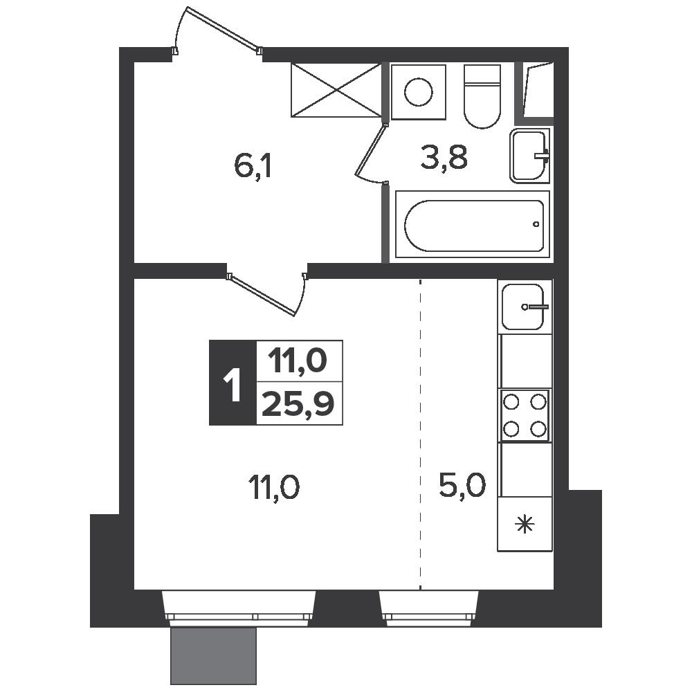 Студия, 25.9м² за 4,3 млн руб.