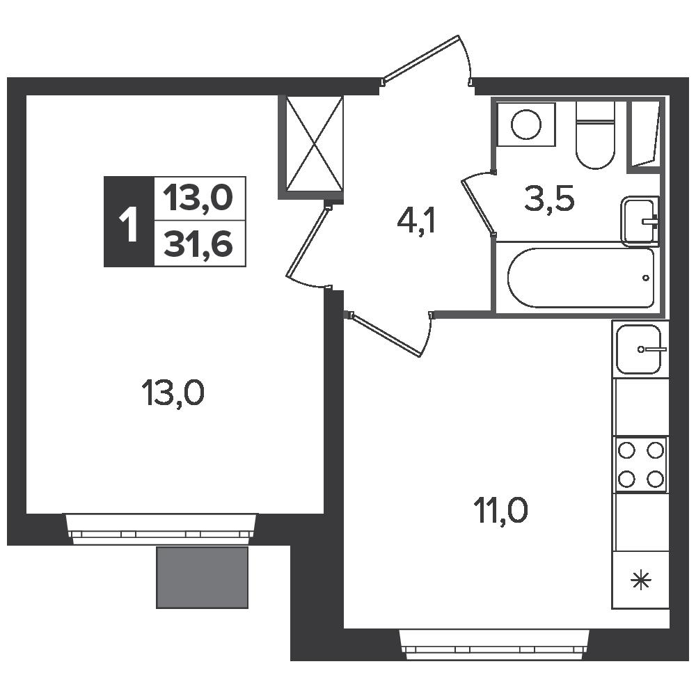 1-комнатная квартира, 31.6м² за 5 млн руб.