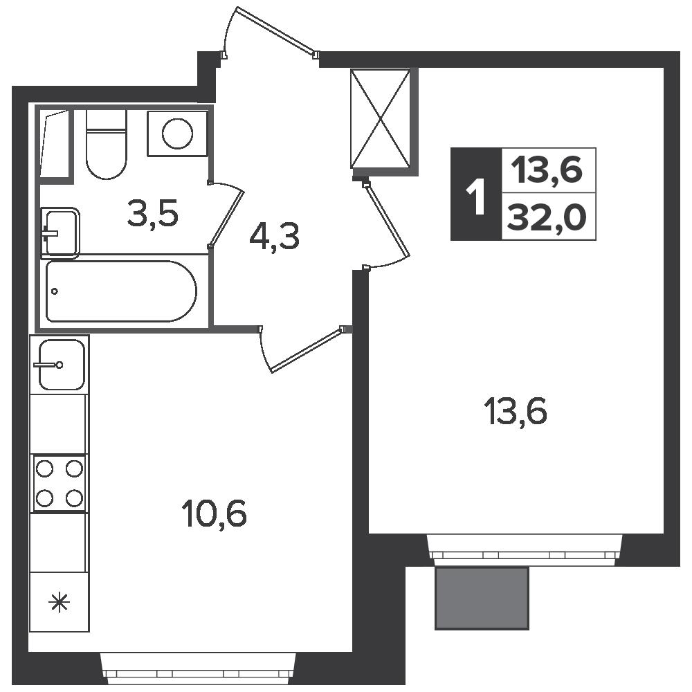 1-комнатная квартира, 32м² за 5 млн руб.