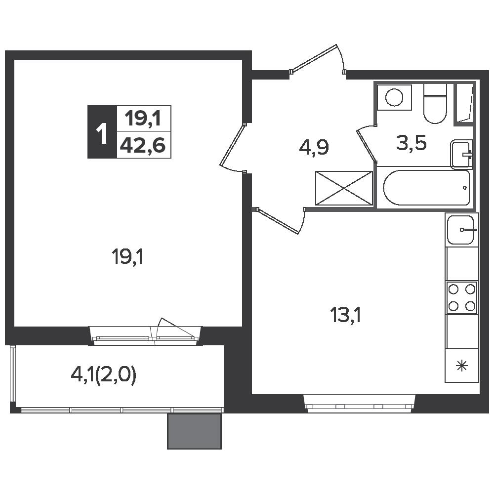 1-комнатная квартира, 42.6м² за 6,4 млн руб.