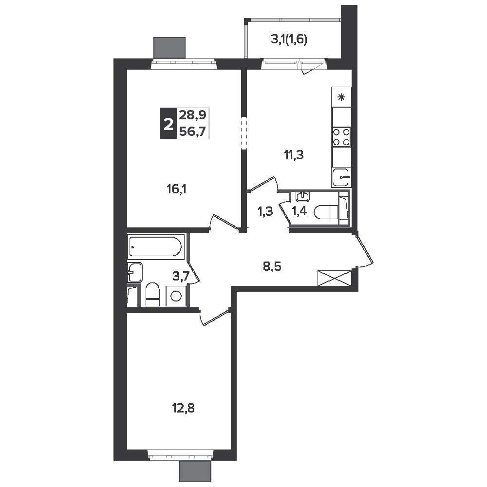 2-комнатная квартира, 56.7м² за 8,4 млн руб.