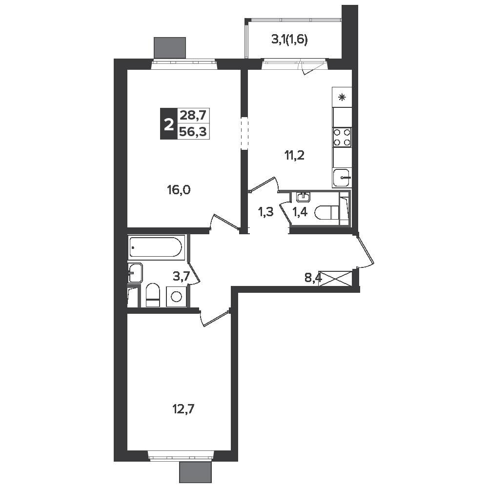 2-комнатная квартира, 56.3м² за 9,7 млн руб.