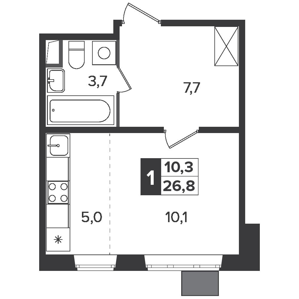 Студия, 26.8м² за 4,4 млн руб.