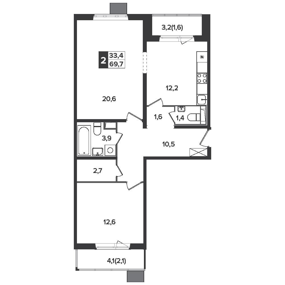 2-комнатная квартира, 69.7м² за 11 млн руб.