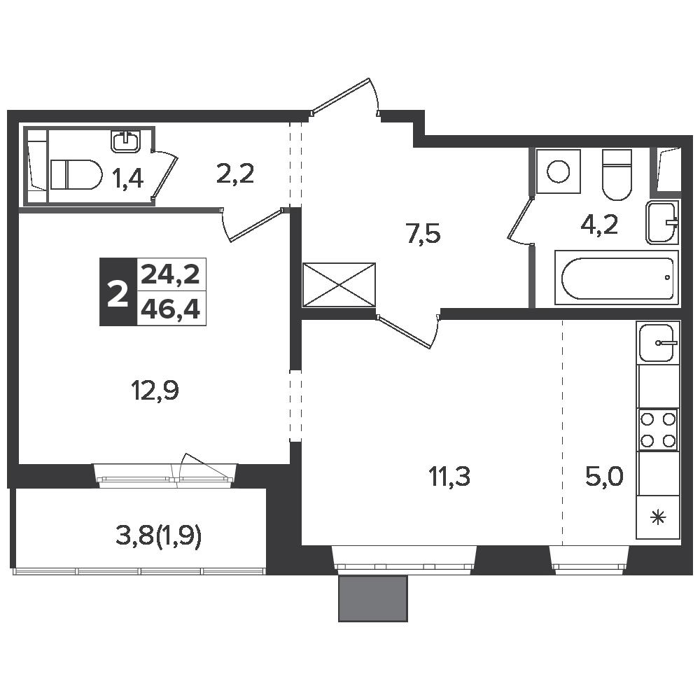 2-комнатная квартира, 46.4м² за 7,5 млн руб.