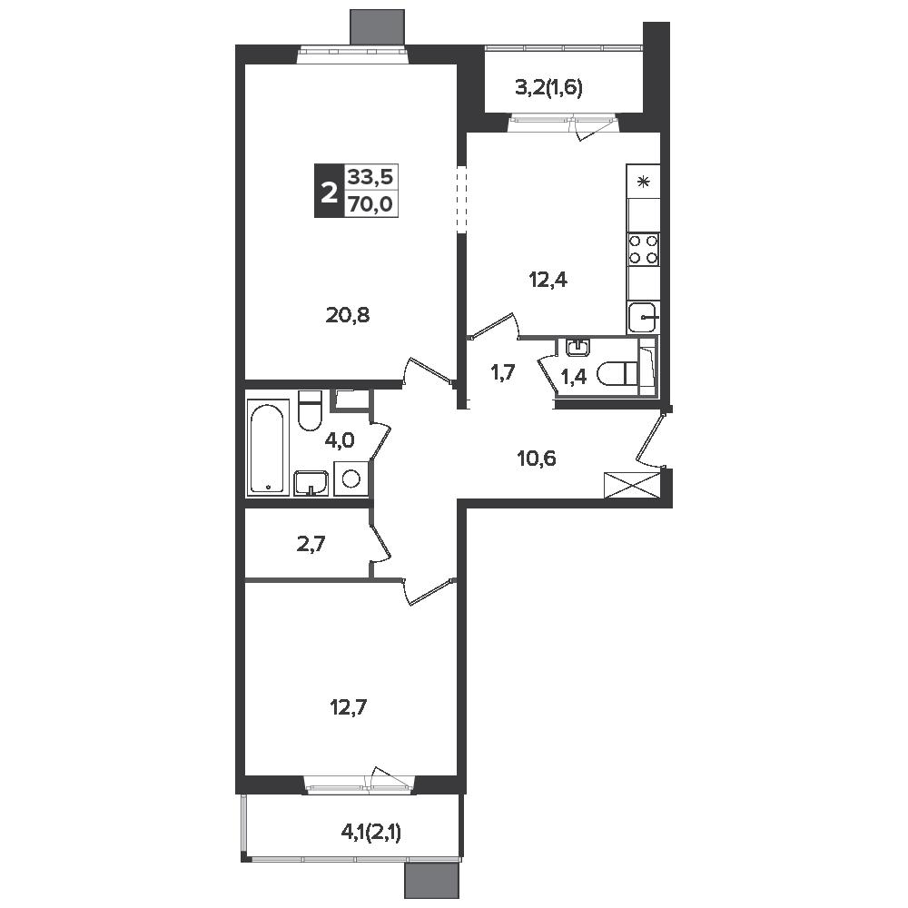 2-комнатная квартира, 70м² за 11 млн руб.