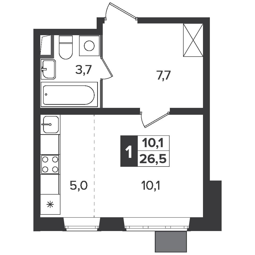 Студия, 26.5м² за 4,6 млн руб.