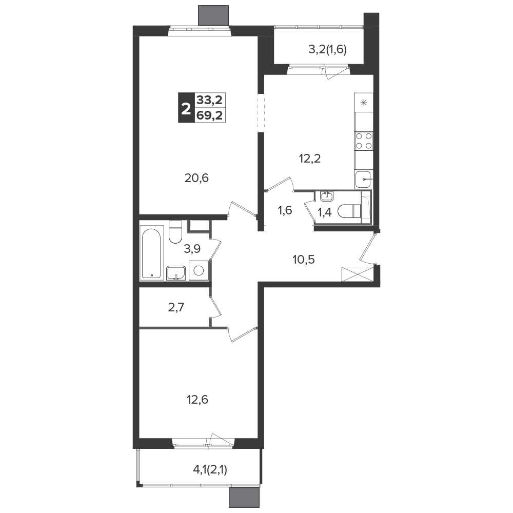 2-комнатная квартира, 69.2м² за 10,8 млн руб.