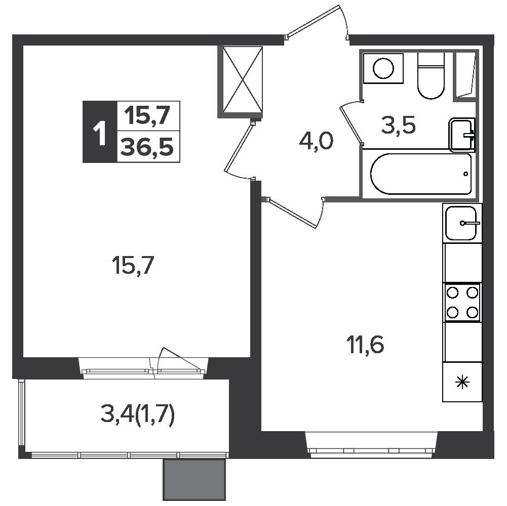 1-комнатная квартира, 36.5м² за 5,5 млн руб.